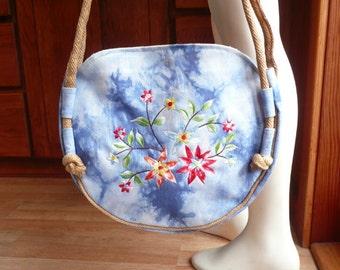 Vintage 70s Boho Hippie Floral tie dye Denim Round Shoulder Bag Purse