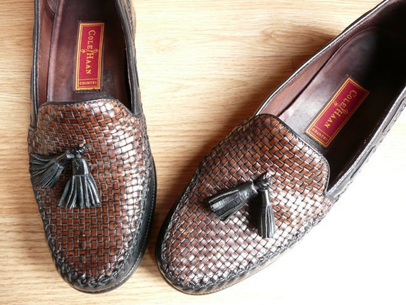Vintage 80's Cole Haan Preppy 2 tone Tassel Woven Loafers Shoes 9 B