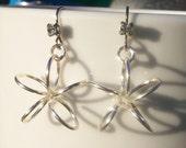 Silver Flower Rhinestone Earrings / Small