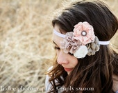 Pocket full of Rosies - pink/brown blossoms headband
