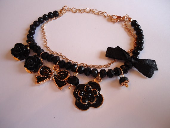 Black and Gold Pearl and Charm Bracelet