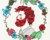 SALES  Gocco screen print Ginger man and a wreath of flowers