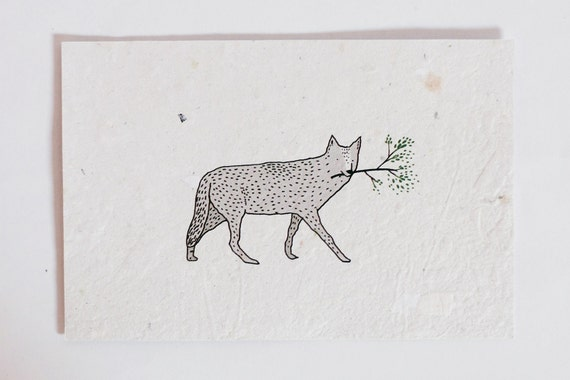 Handmade recycled paper card little wolf 10x15cm eco-friendly