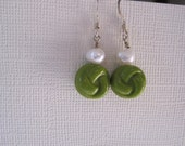 Antique Knotted Green and Pearl Earrings