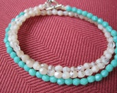 Light Pink and Turquoise Bead Interchangeable Necklace and Bracelet