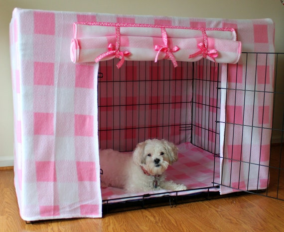 Items similar to Small Pink Dog Crate Cover Fleece 24L ... - photo#17