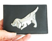 Leather Credit Card Holder Pewter Puppy Motif