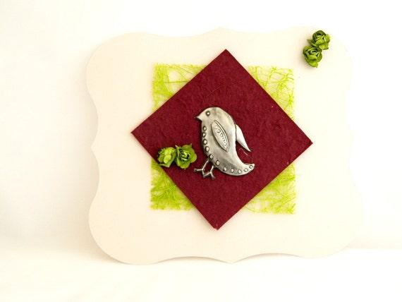 Embellishment Pewter Embossed Bird Motif Set of 3