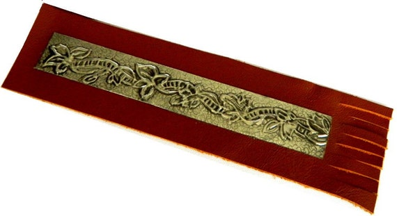 Leather Bookmark Pewter Embossed Ladder and Leaf Motif