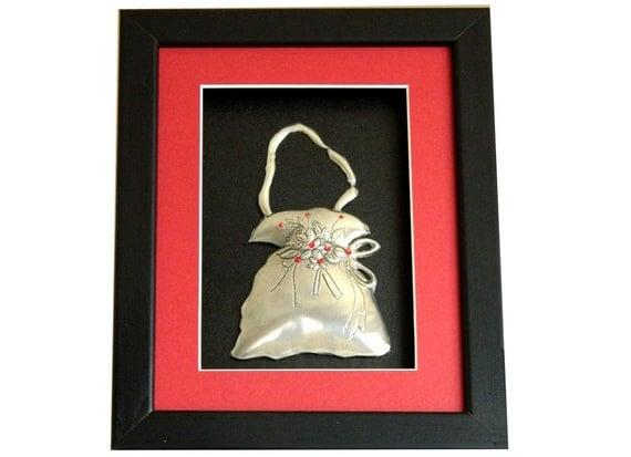 Framed Wall Sculpture Pewter Handbag