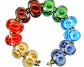 Lampwork Glass Bead Rainbow Poked Eye Air Bubble Beads