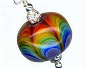 Lampwork Glass Bead Encased Rainbow Petal Karma Focal Pendant