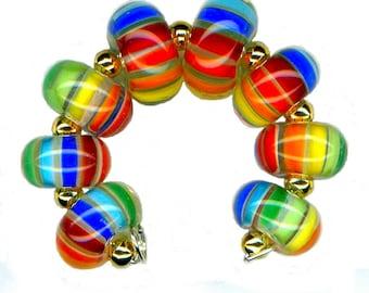USA Handmade Lampwork Glass Bead Rainbow Stripe Karma Encased Beads