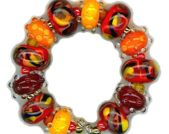 Lampwork Glass Beads Red Coral Yellow Black Adventurine Bead Set