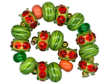 Lampwork Glass Beads Watermelon Green Pink Bead Set