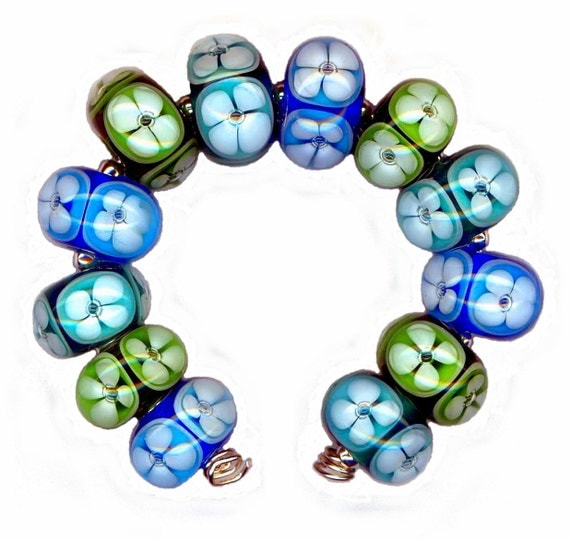 Handmade USA Lampwork Glass Bead Floral Window Poked Eye Aqua Teal Green Bubble Beads