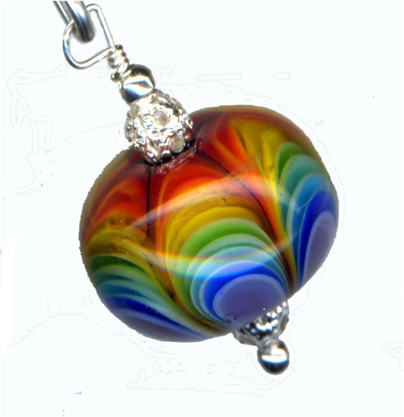 Lampwork Glass Bead Encased Rainbow Petal Karma Focal Pendant