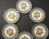 CHRISTMAS SALE Pewter Coasters / Porcelain Coasters / Set of 6 in Original Boxes / Germany