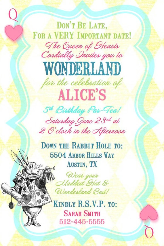 Items similar to Alice in Wonderland Queen of Hearts Birthday Tea Party Invitation- Digital ...