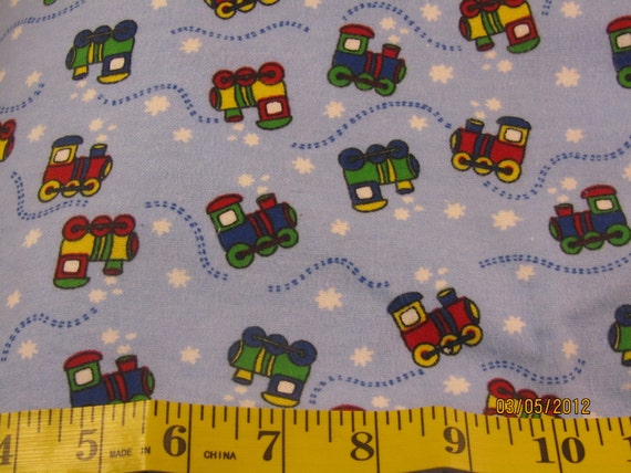 Cotton flannel fabric by the half yard trains by for Train fabric by the yard