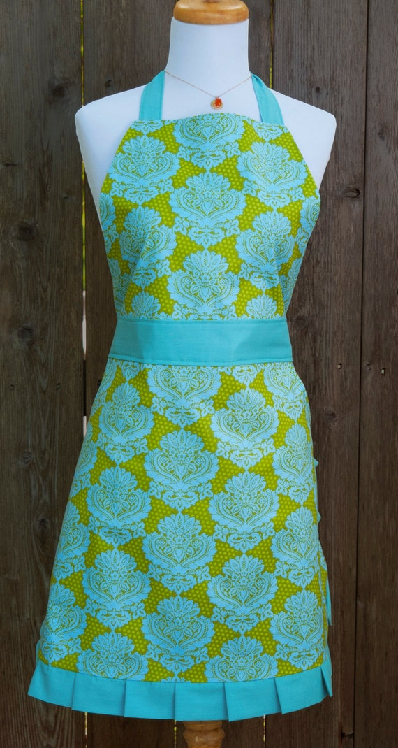 Lime Green & Teal Apron with Pockets - Full Ruffle Skirt