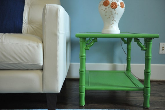 bamboo side table - painted green