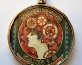 Steampunk Debutante Woman's Reversible Necklace Woman/Man's Profile & Clock Gears Graphic 45