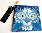 Owl coin purse / pouch in blue bird design with zip and glass charm
