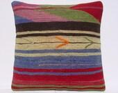 """MODERN Bohemian Home Decor,Turkish Kilim Pillow Cover  16"""" X 16"""",Tribal Pillow,Vintage Kilim Pillow, Kilim Ebroidery Pillow,Throw Pillow"""