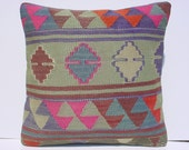 "HANDWOVEN Traditional Turkish Kilim Pillow Cover  16"" X 16"",Tribal Pillow,Vintage Kilim Pillow"