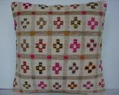 """MODERN Bohemian Home Decor,Turkish Kilim Pillow Cover  16"""" X 16"""",Vintage Kilim Pillow, Kilim Embroidery Pillow,Throw Pillow"""