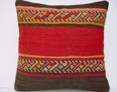 """MODERN Bohemian Home Decor,Turkish Kilim Pillow Cover  16"""" X 16"""",Tribal Pillow,Vintage Kilim Pillow, Kilim Embroidery Pillow,Throw Pillow"""