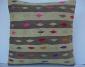 "MODERN Bohemian Home Decor,Turkish Kilim Pillow Cover  16"" X 16"",Decorative Pillow,Vintage Pillow, Kilim Embroidery Pillow,Throw Pillow"