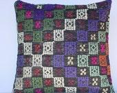 "MODERN Bohemian Home Decor,Turkish Kilim Pillow Cover  16"" X 16"",Vintage Kilim Pillow, Kilim Embroidery Pillow,Decorative Pillow"
