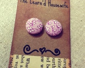 Small Fabric Covered Button Earrings in Lavender Vines