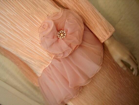 Vintage Peach Pleated Satin Formal Dress Chiffon Peplum & Flower Rhinestone Pearl Button Sz 14