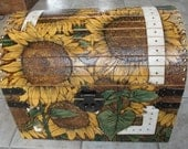 Woodburned and Painted Keepsake Chest - Sunflower
