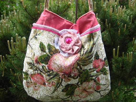 Vintage Barkcloth Purse Hippie Bag Bohemian Summer Purse