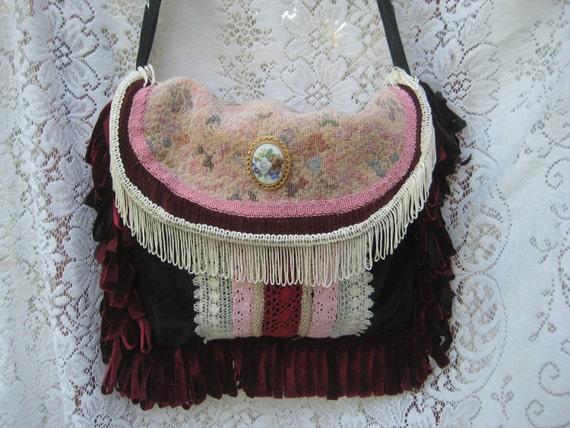 Crossbody Purse Gypsy Black Velvet Carpetbag Victorian Lace Vintage Burgandy Velvet Bag, Bohemian