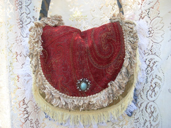 Crossbody Hip Purse Victorian Gypsy Lovers Carpetbag Hippie Bohemian Purse