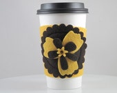 Go Green-Coffee Cozy-Yellow Flower-Eco Friendly-Reusable-Unique Gift Idea-Everyday Use-Birthday Gift