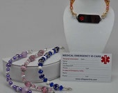 MEDICAL ALERT Bracelet for Identification Tag:  Hand Beaded Jewelry for Your ID Tag.  You Choose Color.
