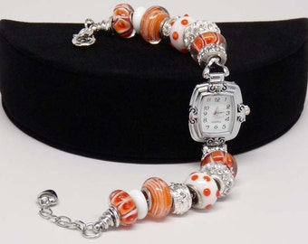 CALYPSO CORAL WATCH:  European Style Large Hole Bead Orange Watch Accessory Gift