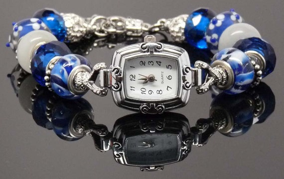 IN A BLUE MOOD: European Style Large Hole Bead Blue Watch Bracelet