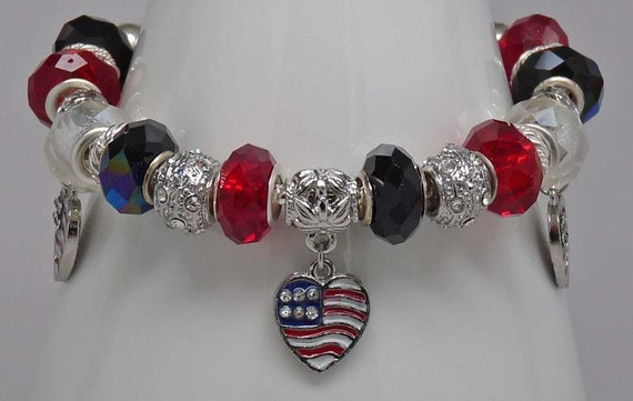 "I HEART USA 8.5"": Bracelet European Pandora Style Large Hole Bead Patriotic Red White Blue July 4th Accessory Gift"