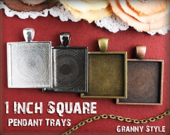 20 Pendant Trays - 1 inch square Silver, Antique Bronze, Antique Copper, or Gumnetal - Blank Bezel Cabochon Setting