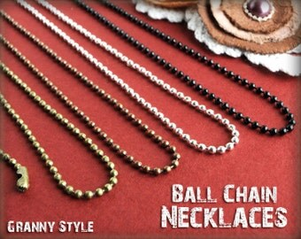 10 Ball Chain Necklaces - 2.4mm, Antique Brass Chain, Antique Copper Chain, Silver Chain, Gunmetal Chain, Antique Bronze Jewelry Ballchain