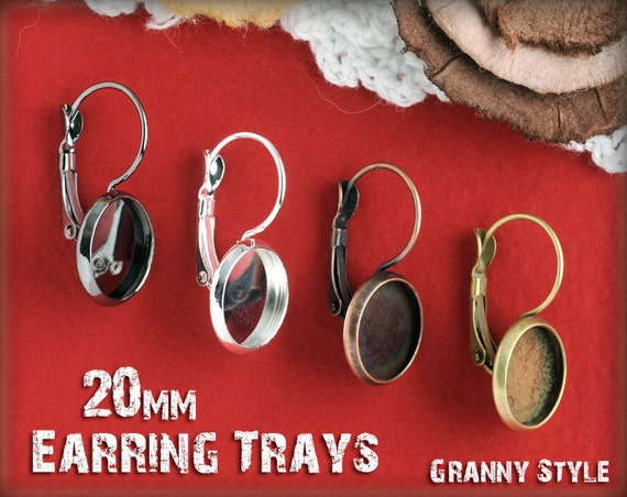 40 - 20mm Earring Settings -  Your Choice Silver, Antique Bronze, Antique Copper, or Gumnetal - Blank Bezel Cabochon Setting