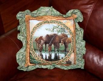Decorative horse themed throw pillow - Green Meadows series