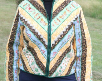 Butterflies and Caterpillars Quilted Jacket, multi colored, women's medium